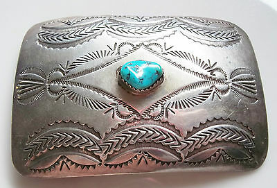 Vintage Native American Silver Turquoise belt buckle