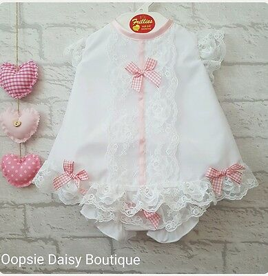 Baby Girls Gorgeous Spanish Romany Style White Dress & Bloomers