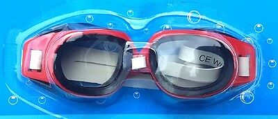 Swimming Goggles - Ultra Comfortable, Poly-Carbonate Lens - Red