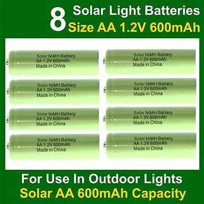 8 x AA Garden Solar Light Rechargeable Batteries 1.2V 600mAh NiMH (NiCd) UK