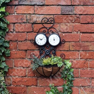 Garden Iron Decorative Wall Planter With Clock And Thermometer In Black  Gcbc