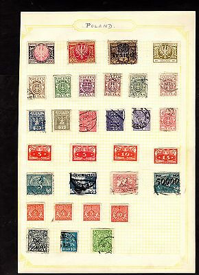 Stamps ~ POLAND POLISH ~ On Album Page UNSORTED / Unchecked