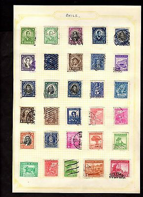 Stamps ~ CHILE South America ~ On Album Page UNSORTED / Unchecked