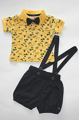 Baby Boy's Bibshorts, Polo Top & Bow Tie Size (12-18 months) -  3 Piece Set