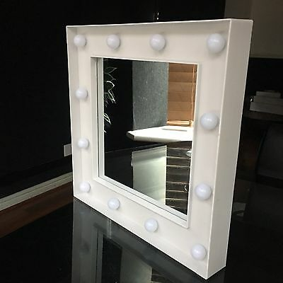 Small White Led Light Hollywood Style Wall Mirror Girls Bathroom Makeup Mirror