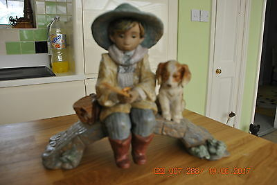 LLADRO GRES: FISHER BOY WITH ROD and DOG
