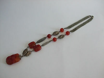 Antique Chinese carved carnelian and silver plated necklace