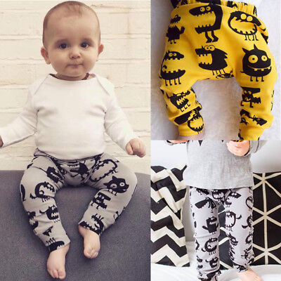 Cute Baby Boys Girls-Bottoms Monster Harem Pants Leggings Trousers Casual 0-2Y