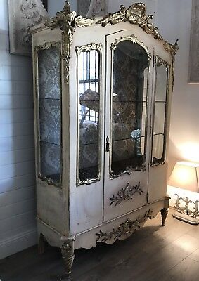 Magnificent Antique Carved French Louis XV Vitrine Display Cabinet