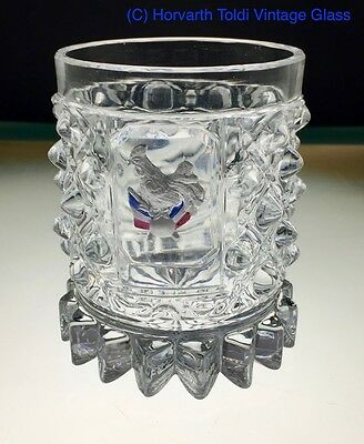 Baccarat Moulded Glass Tumbler with Enamelled Cockerel with French Flag 1830