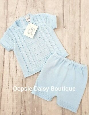 Baby Boys Gorgeous Spanish Romany Style Blue Cable Knitted 2 Piece Romper Suit ☆