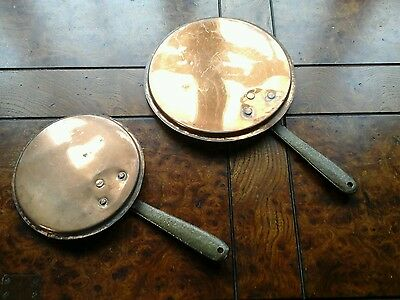 Two copper and brass vintage flat pans