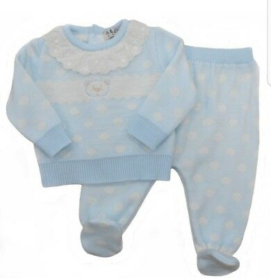 Babys Gorgeous Spanish Knitted 2 Piece Blue Suit Romper Gift Boxed