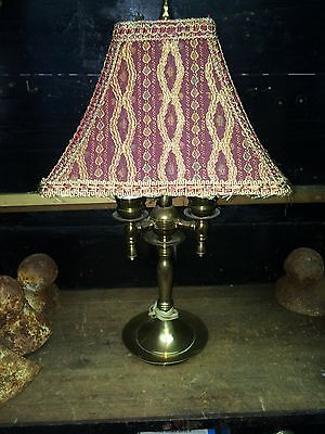 vintage brass 3 light French Bouillotte style Lamp with stunning fringed shade