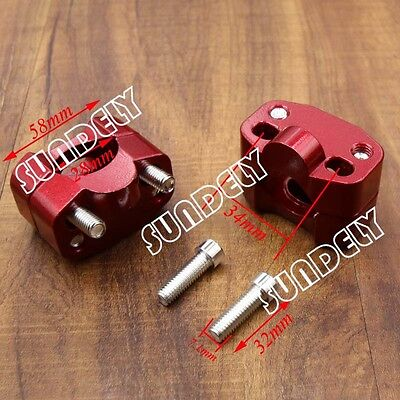 CNC HandleBar Fat Bar Risers Mount Clamp Red 22MM To 28MM Motorcycle ATV Quad