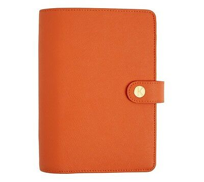 Kikki K Medium Textured Leather Personal Planner Tangerine New In Box