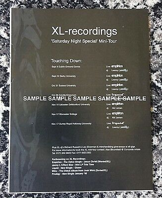 XL Recordings A4 Laminated Advert - Empirion/Leeroy (Prodigy)