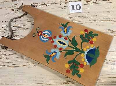Vintage 70s Hand Painted Wood Cutting Breadboard Russian art No.10