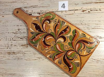 Vintage 70s Hand Painted Wood Cutting Breadboard Russian art No.4