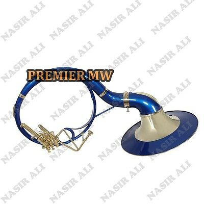 """Sousaphone Small Bell 21"""" B-Flat Blue Color For Sale With Free Carry Bag + Mp"""