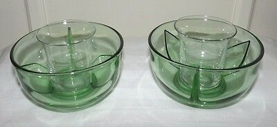 (Set of 2) Fostoria Green FAIRFAX ICERS (Ice Bowls) with Glass Tumblers Inserts