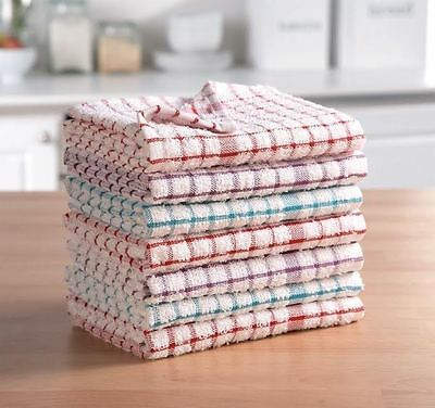 Pack Of 2-12 Terry 100%Cotton Tea Towels Set Kitchen Dish Cloths Cleaning Drying