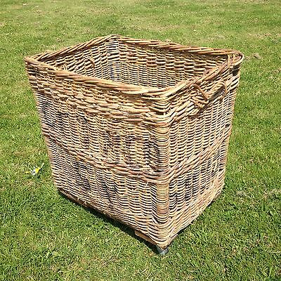 Large Vintage Wicker Basket with Casters Shabby Chic Storage 820mm x 640mm