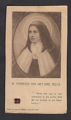 Relic of St Therese of Lisieux Antique Holy catholic prayer card Carmel seal