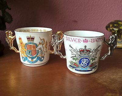 2 x Paragon Commemorative Loving Cup. Golden Jubilee 2002 & Silver Wedding 1972
