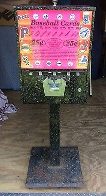 Vintage 1970s Baseball Card Vending Machine With Key- Works Great