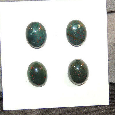 Bloodstone Cabochons 8x10mm with 4mm dome from India set of 4 (12498)