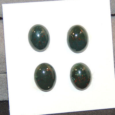 Bloodstone Cabochons 8x10mm with 4mm dome from India set of 4 (12499)
