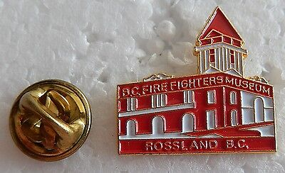 BC Firefighters Museum Rossland, BC Red and White Pin