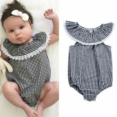 Infant Baby Kid Girls Cotton Summer Clothes Lace Ruffled Romper Jumpsuit Outfits