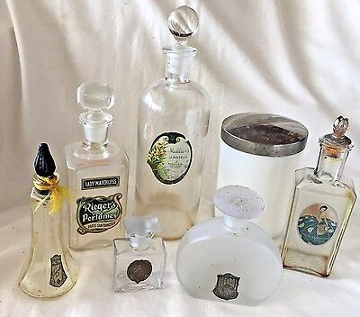 Collection of 7 RARE 1920's ANTIQUE Art Deco NOUVEAU Commercial PERFUME BOTTLES