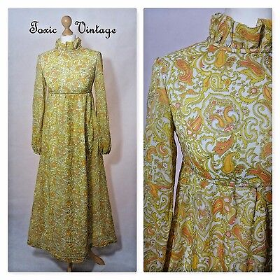 VINTAGE 1960's 1970's YELLOW PAISLEY MAXI DRESS 8 - 10 RETRO BOHO SUMMER CHIC