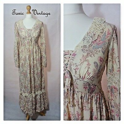 VINTAGE 1970's CREAM FLORAL MAXI DRESS SIZE 10 BOHO KITSCH PRAIRIE SUMMER CUTE