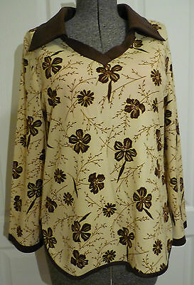 Vintage 1970s M/L Bell Sleeve Hippie Tunic Top Beige & Brown Floral Long Collar