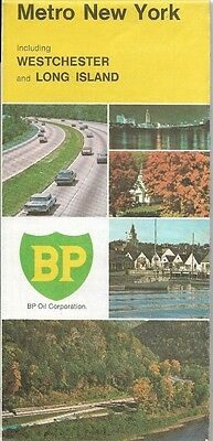 1970 BP OIL Road Map METROPOLITAN NEW YORK Westchester County Long Island Nassau