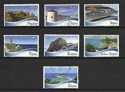Greece -- islands -- 7 different used 2010 definitives -- catalog $12.50