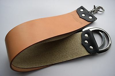 Horse Hide & Natural Linen strop for straight razors (Natural / D rings)