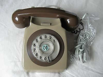 VINTAGE BT HOME TELEPHONE 1970s RETRO STYLE TWIN TONE GREY/BROWN FULLY WORKING