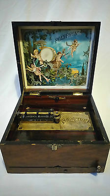 19th Century Victorian Polyphon Music Box w/17 Music Disks