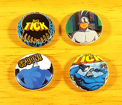 THE TICK 4 1 Inch Pinback Buttons 1994 Fox TV Series Nerdy 90's Retro Badge Pins