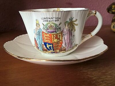 A Fine Large Antique Commemorative Cup & Saucer 1902. Foley China. Edward VI