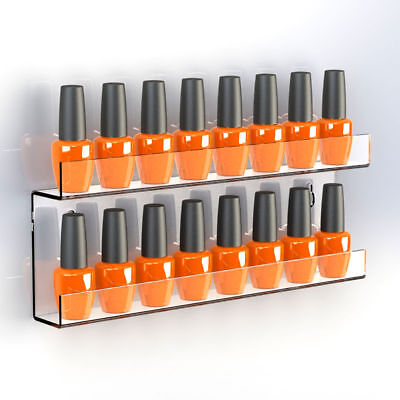 Nail Polish Double Shelf Display |Wall Mounting Nail Varnish Bottle Holder Stand