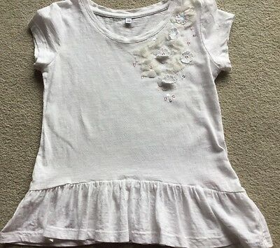Girls M&S White Flower Top Age 5-6 Years