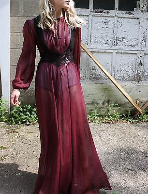 Vintage Sheer Maxi Dress Lace Bodice Tunic Gown Flowy Boho Festival Dress S