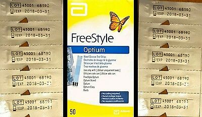 10 Individual Abbott FreeStyle Optium Blood Glucose Test Strips(Expiry 31- 03-18