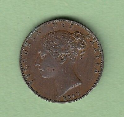 1841 Great Britain One Farthing Coin - Queen Victoria - EF